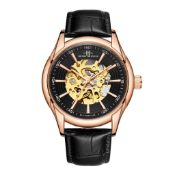 RRP £550 Henry Bridges Infinity Rose Watch, 22mm Strap Width, Black Leather Strap & Buckle