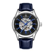 RRP £550 Henry Bridges Infinity Blue Watch, 22mm Strap Width, Dark Blue Leather Strap & Buckle