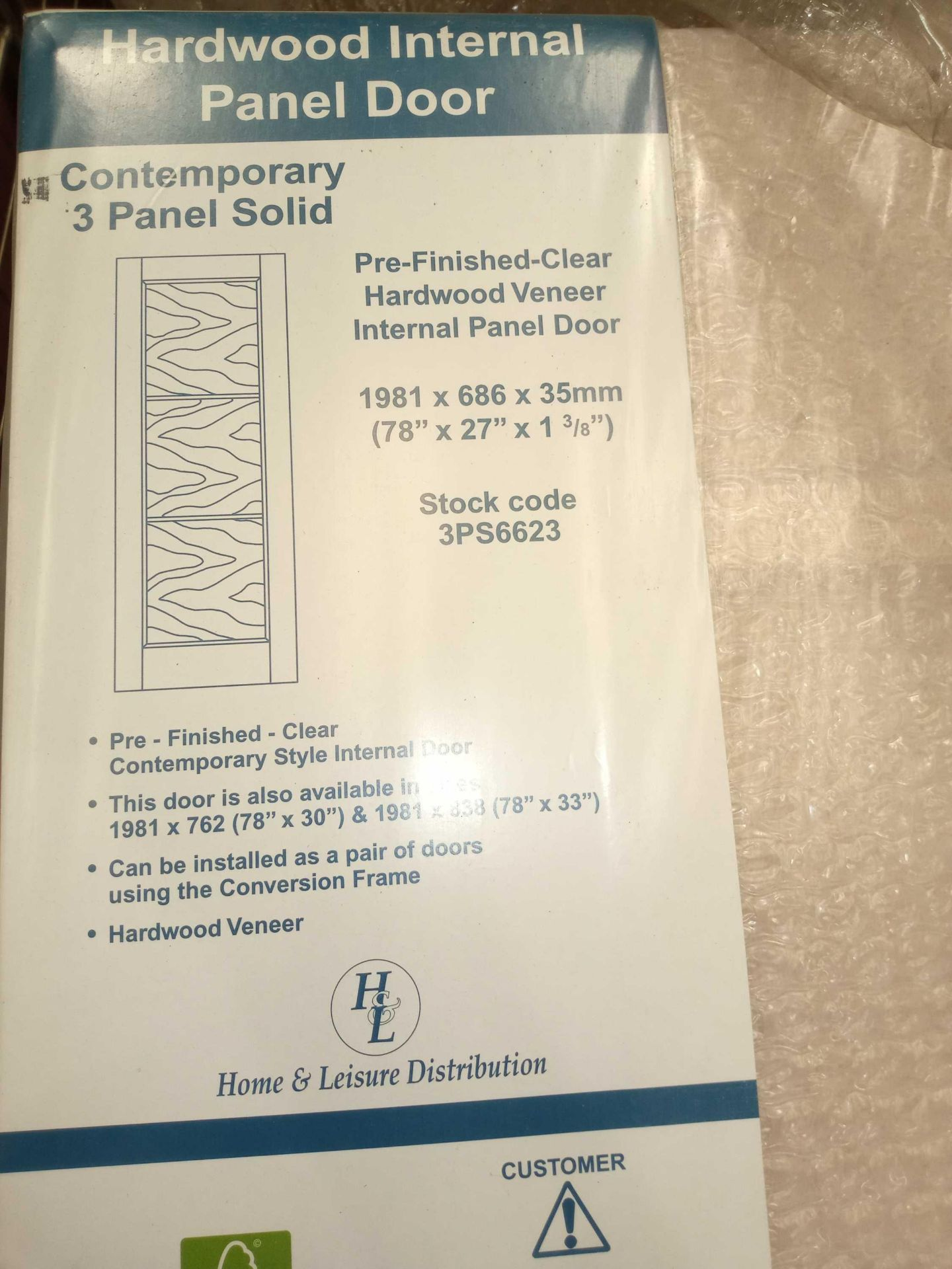 Rrp £1750 Brand New 3 Panel Solid Doors - Image 3 of 3