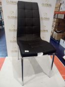 Rrp £150 Black Leather And Chrome Jeff Pair Of Dining Chairs
