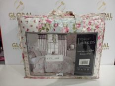 Rrp £100 Bagged Prime Linens Floral Meadow Super King Size Bedspread With Pillow Shams