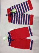 RRP £145 Lot To Contain 49 Brand New 2 Pack Muddy Puddles 0-3M Baby Red Stripe/Plain Trousers
