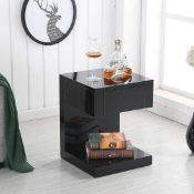 RRP £175 Boxed Dixon Black High Gloss 1 Drawer Bedside Table