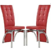 RRP £390 Boxed Set Of 4 Ravenna Red And Chrome Dining Chairs