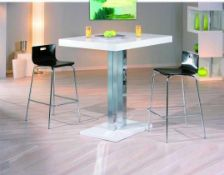 RRP £410 Inter Link Palazzi Bar Table, White, 120 X 110 X 80 Cm