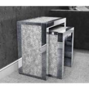 RRP £180 Jade Crushed Crystal Mirrored Nest Of 2 Tables