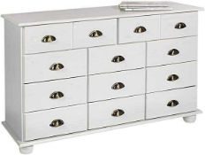 RRP £350 Boxed Solid Pine 11 Drawer Chest Of Drawers