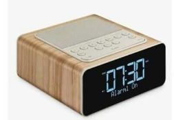 RRP£80 Boxed John Lewis Prelude Alarm Clock Radio With Wireless Connectivity In Wood Effect