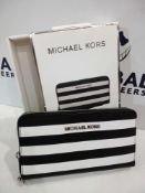 RRP £60 Each Boxed Brand New Michael Kors Black And White Large Multifunction Ladies Purses With A P
