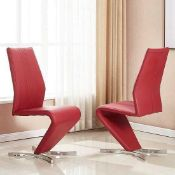 RRP £160 Gia Dining Chair In Bordeaux Faux Leather In A Pair