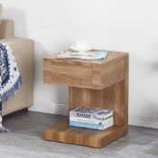 RRP £130 Dixon Wooden Bedside Table In Dark Oak With 1 Drawer