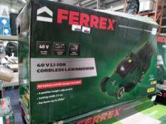 Rrp £70 Boxed Ferrex 40V Li-Ion Cordless Lawnmower