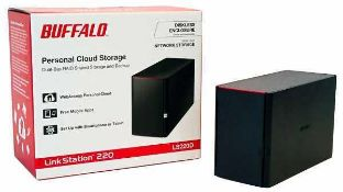 Rrp £250 Boxed Buffalo Windows 10 Ready Linkstation 220 Dual Bay Network Storage Unit