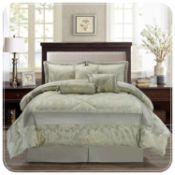 Rrp £75 Bagged Supreme Double 220X240Cm Betty Light Green Bedspread