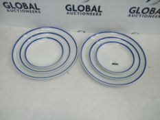 Rrp £60 Set Of 4 Churchill White And Blue Outline Plates