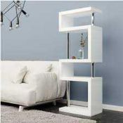 RRP £290 Boxed Miami Slim High Gloss Shelving Unit White (Appraisals Available Upon Request) (