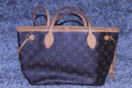 Rrp £1,500 Louis Vuitton Neverfull Shoulder Bag, Brown Coated Monogram Canvas, 29X22X13Cm, (