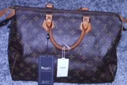 Rrp £1,100 Louis Vuitton Speedy 35 Handbag, Monocgram Coated Canvas, Vachetta Handles, 35X22X18Cm (