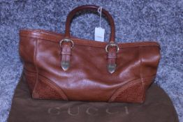 Rrp £1,030 Gucci Brown Signoria Shoulder Bag, Small Grained Brown Leather, 34X21.5X12.5 (