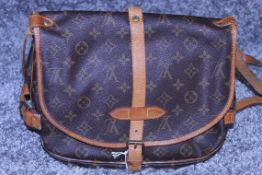 RRP £1,200 Louis Vuitton Saumur Shoulder Bag, Monogram Canvas, Vachetta Handles, (Production Code