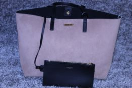 Rrp £1,490 Yves St-Lauren Medium Tassle Tote Bag, Dark Beige/Black Suede Leather, Black Leather
