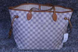 RRP £1,500 Louis Vuitton Neverfull Shoulder Bag, Ivory Damier Azur Canvas, Vachetta Handles, (