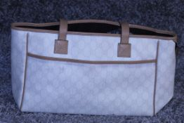 RRP £900 Gucci Rectangular Tote Front Pocket Bag, Ivory/Light Beige Supreme Canvas 35x22x9.5cm (