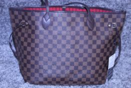 Rrp £1,500 Louis Vuitton Neverfull Shoulder Bag, Brown Coated Camvas (Dramier Ebene), Brown