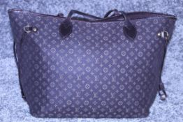 Rrp £1,500 Louis Vuitton Neverfull Shoulder Bag, Black Canvas Monogram Idylle Material, Black