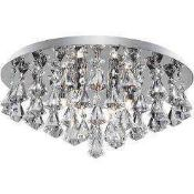 Rrp £120 Boxed Searchlight Crystal Ceiling 6 Light Pendant