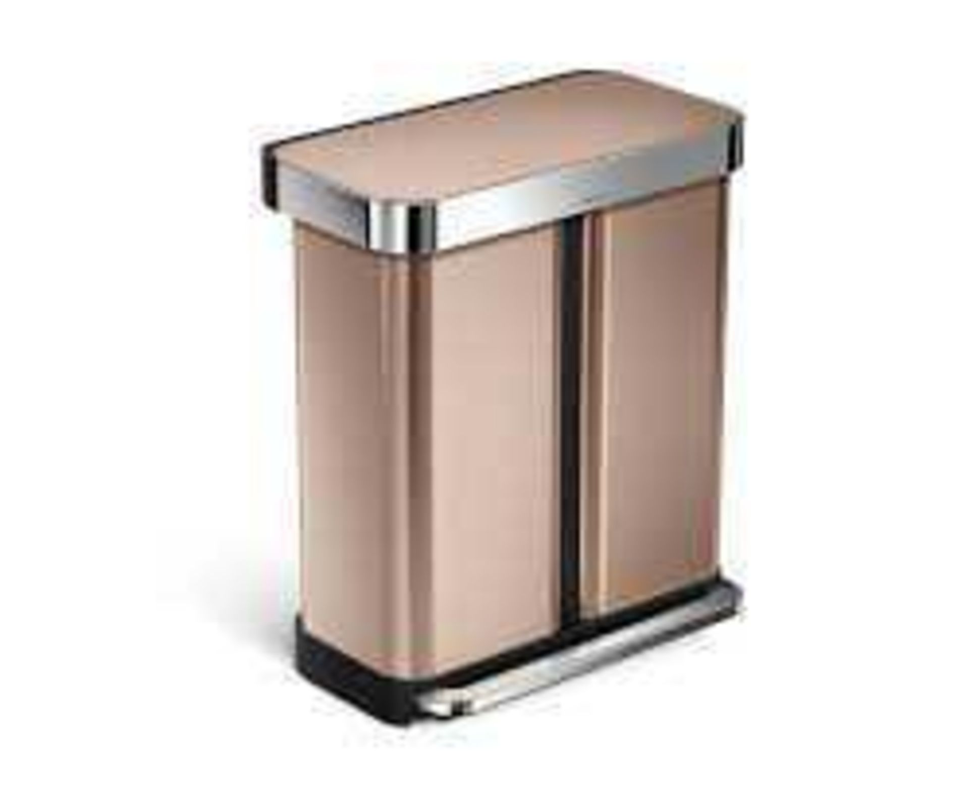 Rrp £280 Boxed Simplehuman Sensor Recycling Bin With Voice Sensor And Motion Sensor In Rose Gold Wit
