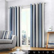 Rrp £120 Lot To Contain To Fusion Fully Lined Curtains 90-In By 90-In In Whitworth Blue