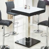 Rrp £305 Boxed Topaz 80X80X110Cm Super White Glass And Black High Gloss Bar Table