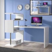 Rrp £250 Boxed Miami 140-225X60-120X131Cm White High Gloss Rotating Computer Desk