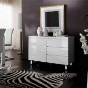 Rrp £450 Boxed Sydney White Gloss 111X42X74Cm Small 3Drawers 1 Door Sideboard
