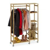 Rrp £60 Boxed Relaxdays Bamboo Rolling Coat Stand