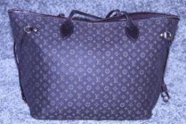 Rrp £1,500 Louis Vuitton Neverfull Shoulder Bag, Black Canvas Monogram Idylle Material, Black