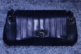 RRP £2,700 Chanel Black Rectangular Shoulder Bag, Calf Leather, Chain Interlaced With Black Leather,