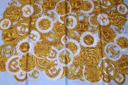 Rrp £700 Chanel Light Blue/Gold/Light Beige 100% Twill Silk Scarft