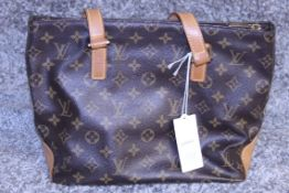 RRP £1970.00 Brown And Beige Leather Cabas Piano Tote Bag From Louis Vuitton Featuring A Monogram