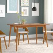 RRP £270 Boxed Brayden Studio Goodyear Mid Century Solid Wooden Dining Table