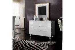 RRP £450 Boxed Sydney White Gloss 111X42X74Cm Small 3 Drawers 1 Door Sideboard