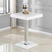 RRP £300 Boxed Furniture In Fashion Topaz White High Gloss 80X80X110Cm Bar Table