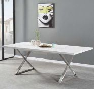 RRP £720 Boxed Mayline 180/220X100X76Cm Extending White High Gloss Dining Table