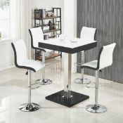 RRP £300 Boxed Furniture In Fashion Super White Glass And Black High Gloss 80X80X110Cm Bar Table