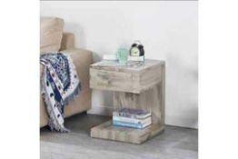 RRP £130 Boxed Dixon Light Grey 40X40X53Cm Bedside Table (77034K)