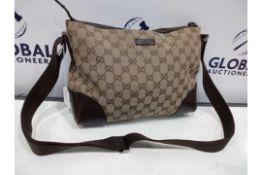 Rrp £750 Gucci Beige Brown Monogram Canvas Dark Brown Leather Ruthenium Hardware Shoulder Bag (