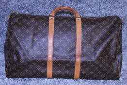 Rrp £1,400 Louis Vuitton Keepall 55 Travel Bag Brown Monogram Canvas, Vachetta Handles,