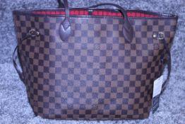 Rrp £1,500 Louis Vuitton Neverfull Shoulder Bag, Brown Coated Camvas (Dramier Ebene), Brown