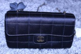 Rrp £3,500 Chanel Timess Silk Bag, Black Canvas Square Quilted, Gold Chain Handles (Production